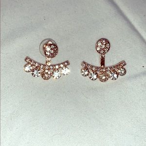 Rose gold and diamond earrings (costume)